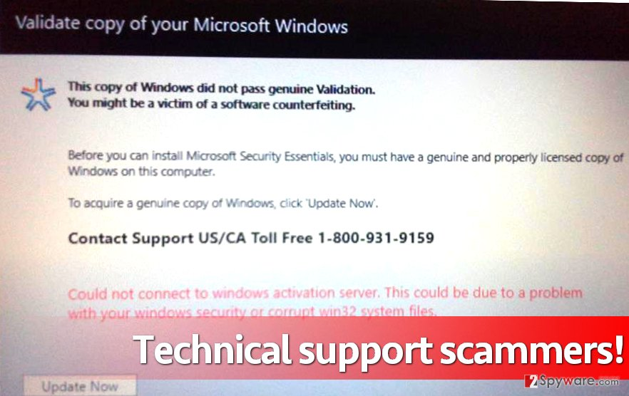 Validate copy of your Microsoft Windows malware attempts to deceive the user by stating that Windows copy is not genuine