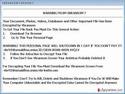 Vbransom virus ransom message