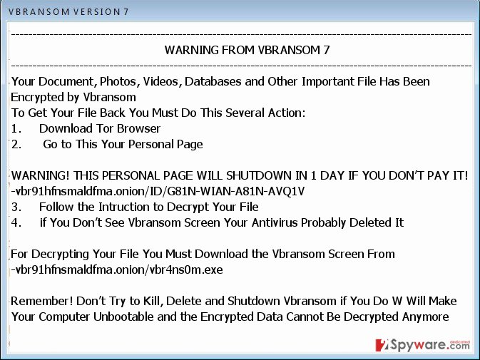 Vbransom virus ransom message