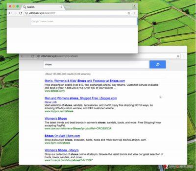 Vdomser.xyz redirect virus in a web browser