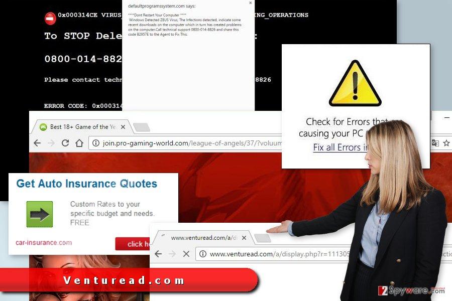 Ads delivered by Venturead.com redirect virus