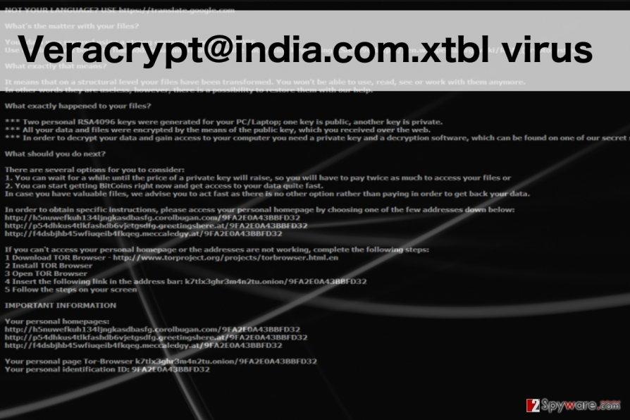 An illustration of veracrypt@india.com.xtbl ransomware virus