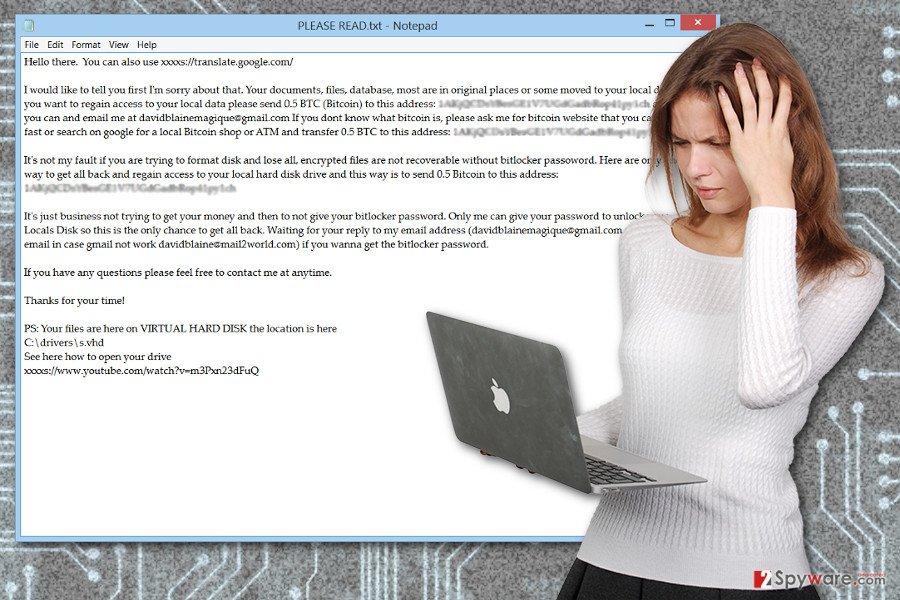 The image of VHDLocker ransomware virus