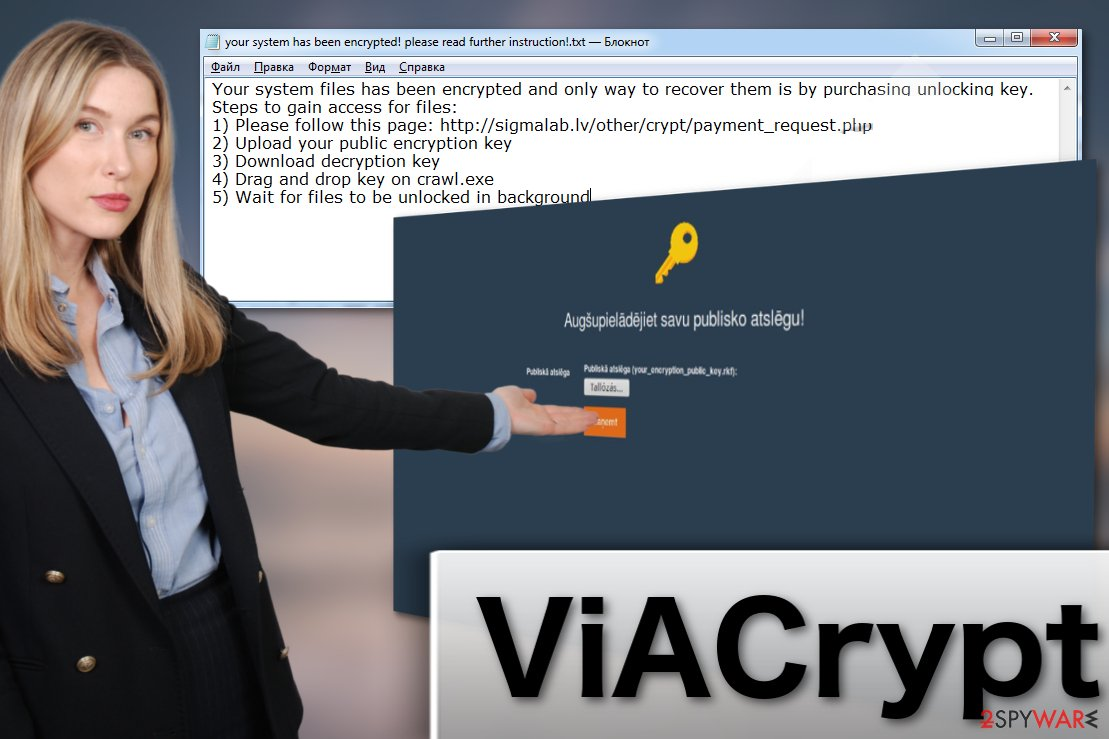 ViACrypt ransomware virus illustration