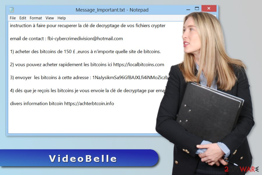 The picture of VideoBelle ransomware attack