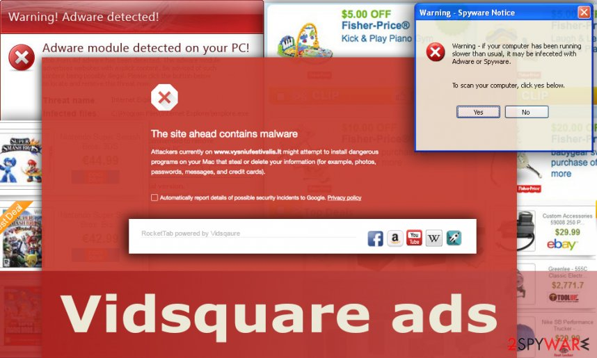 The illustration of Vidsquare ads