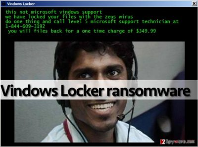 Vindows Locker ransomware asks to call tech support scammers