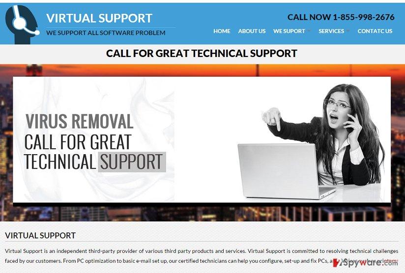 Virtual-support.org pop-up virus snapshot