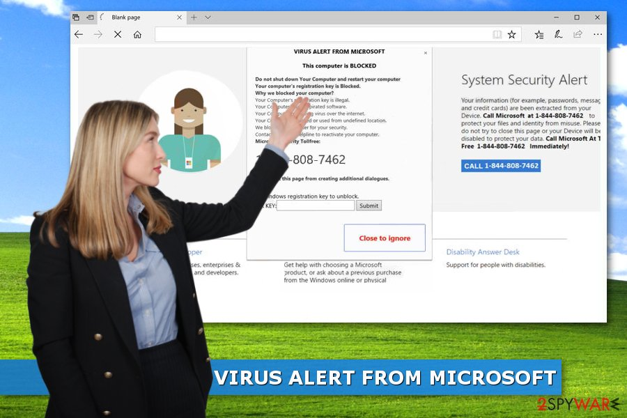 "Image of ""VIRUS ALERT FROM MICROSOFT"" tech support scam"