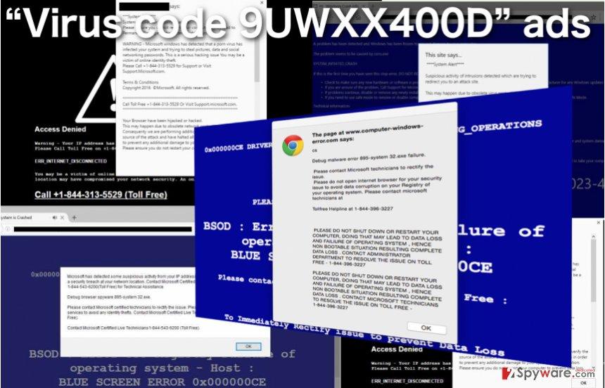 An illustration of the Virus code 9UWXX400D virus
