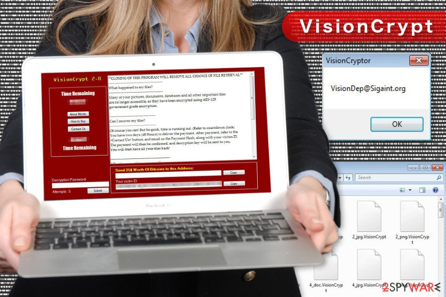 The image of VisionCrypt ransomware virus