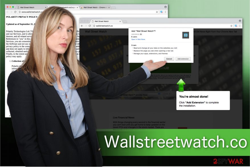 The illustration of Wallstreetwatch.co browser hijacker