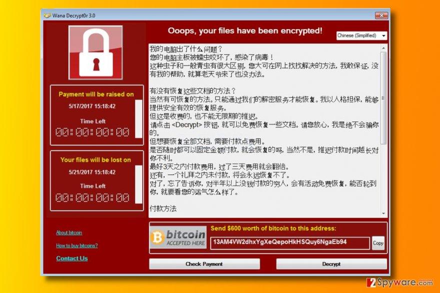 Wana Decrypt0r 3.0 ransomware virus