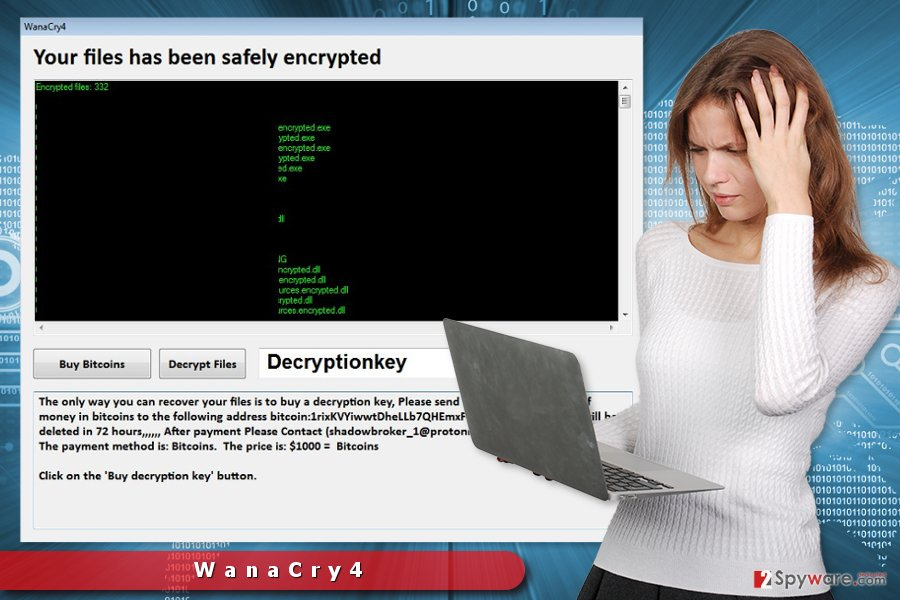 The image of WanaCry4 ransomware virus