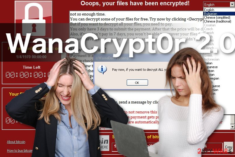 Image of the WanaCrypt0r 2.0 ransomware virus