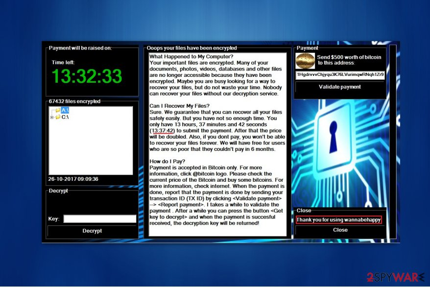 Screenshot of WannaBeHappy ransom-demanding window