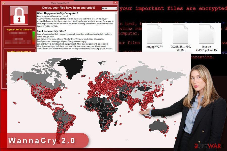 The illustration of WannaCry 2.0 ransomware virus