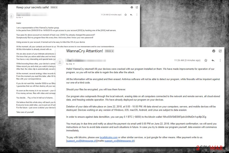 WannaCry hacker group email scam variants