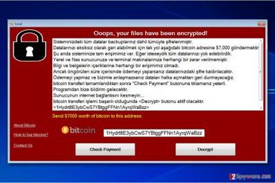 WannaCryOnClick virus screen