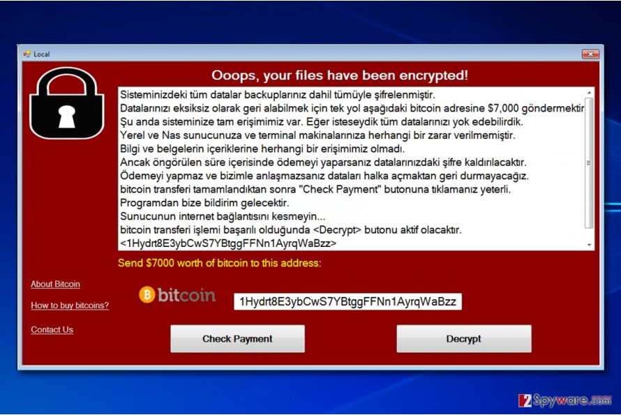 WannaCryOnClick virus screen