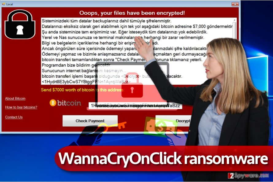 WannaCryOnClick virus in action