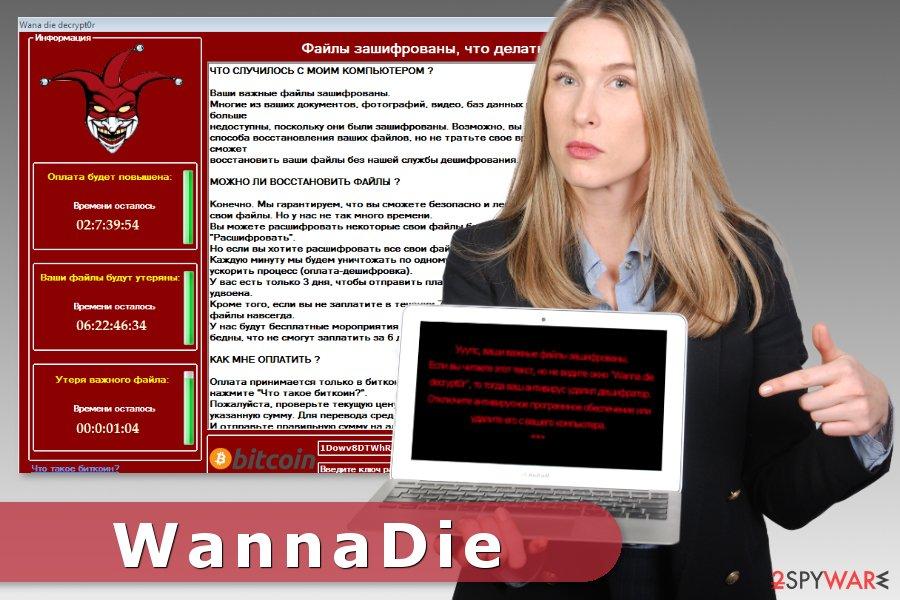 The image of WannaDie ransomware virus