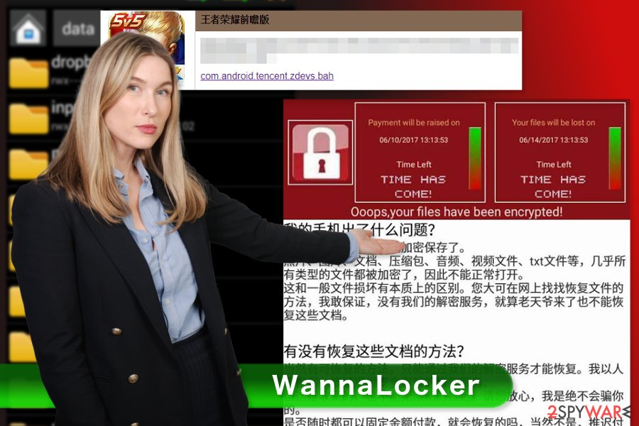 The picture of WannaLocker ransomware virus