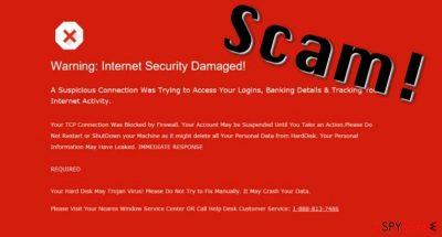 """Warning: Internet Security Damaged"" virus displays a fake message about system status"