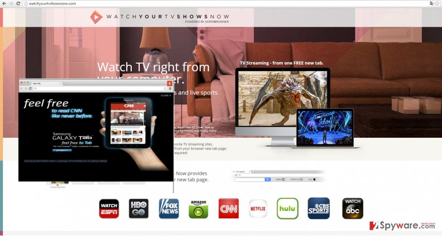 The picture showing Watch Your TV Shows Now Tab