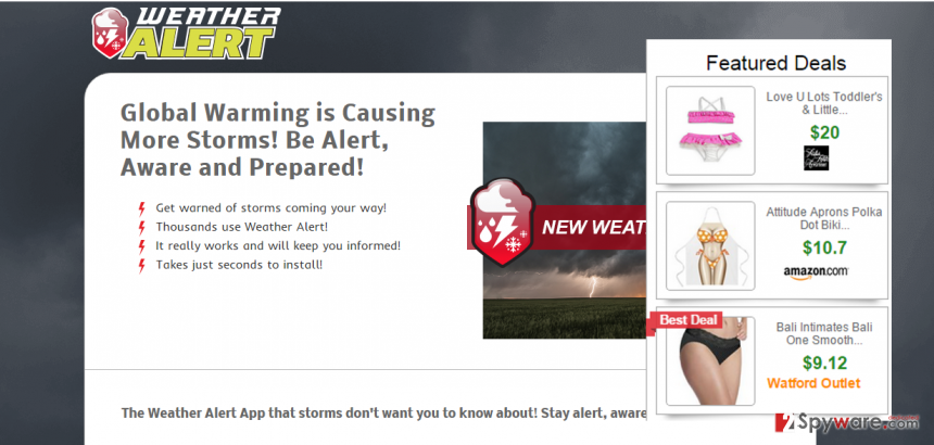 Ads by Weather Alert virus