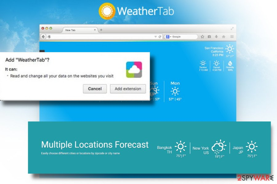 Showing WeatherTab virus