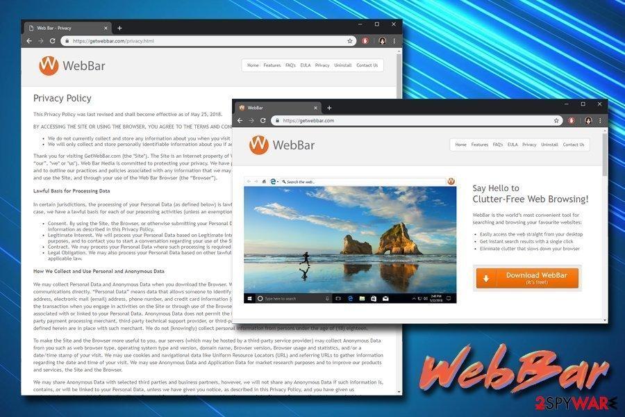 WebBar Privacy policy