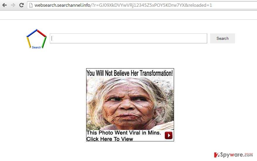 Websearch.searchannel.info virus snapshot