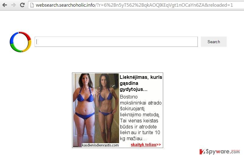 Websearch.searchoholic.info redirect snapshot