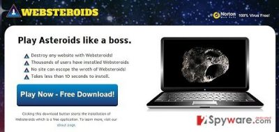 The main page of Websteroids adware