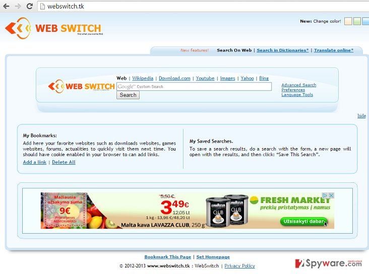 Webswitch.tk redirect virus