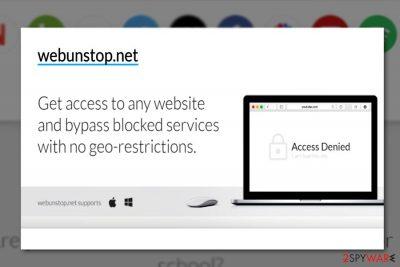 The screenshot of Webunstop