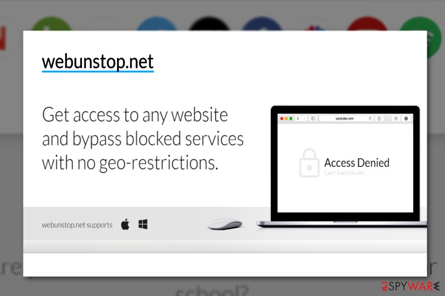 The screenshot of Webunstop