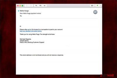 Wells Fargo Email scam image