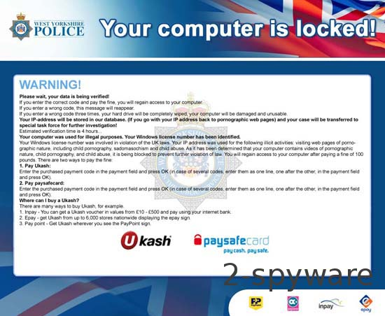 West Yorkshire Police Ukash ransomware