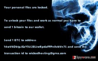 The screenshot of Wicked Locker HT virus