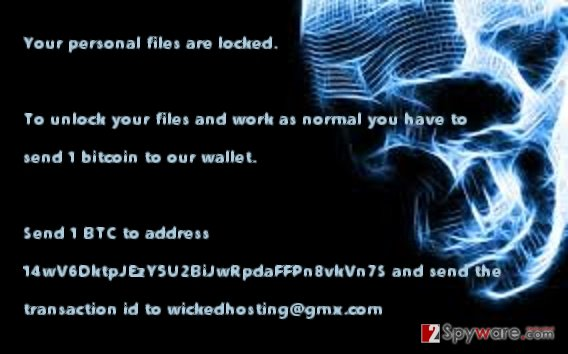 The screenshot of Wicked Locker HT virus