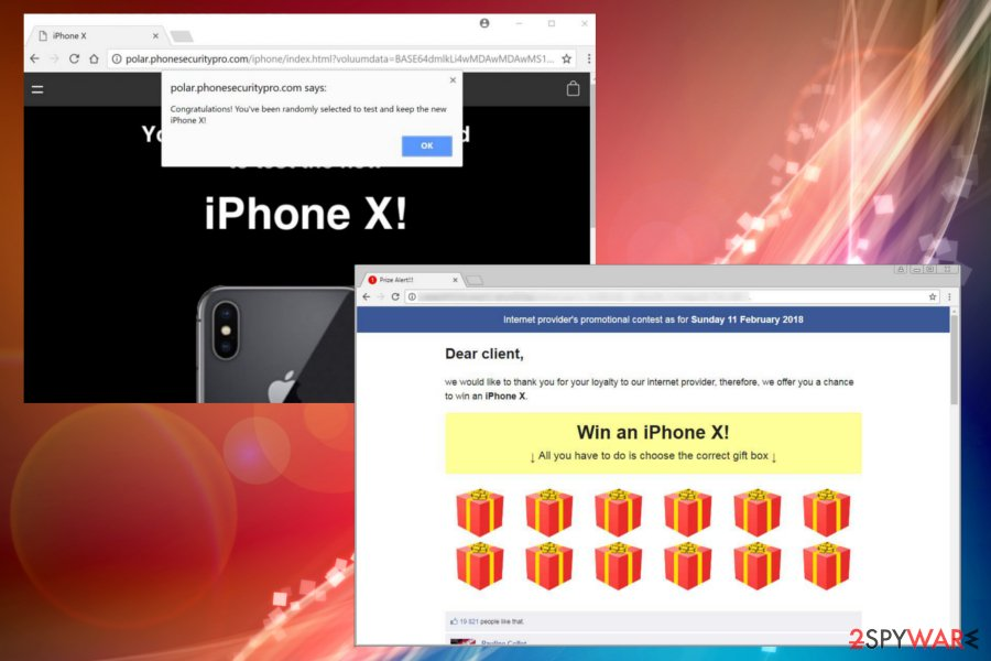 "Displaying ""Win the iPhone X"" scam"