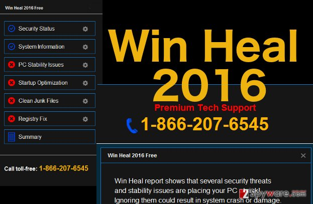 An illustration of the Win Heal 2016 virus