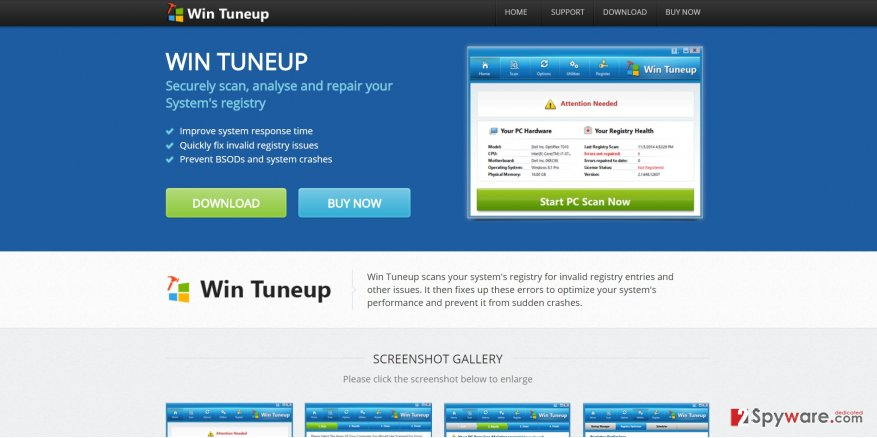 The screenshot of Win TuneUp Pro official website