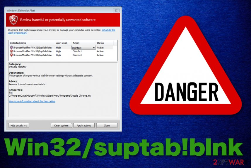 Win32/suptab!blnk virus detection name