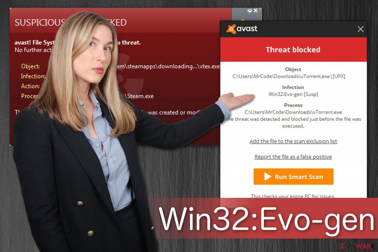 The illustration of Win32:Evo-gen [Susp] alert