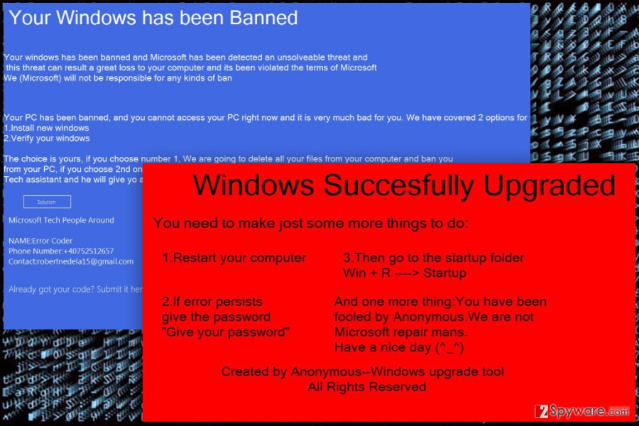 The image of WinBan ransomware virus