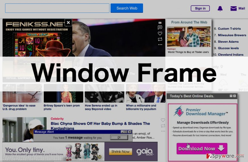 An illustration of the Window Frame adware ads