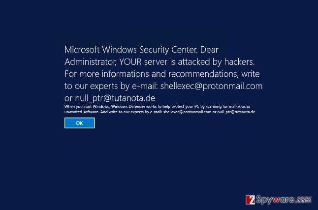 Picture of fake Microsoft Windows Security Center notification